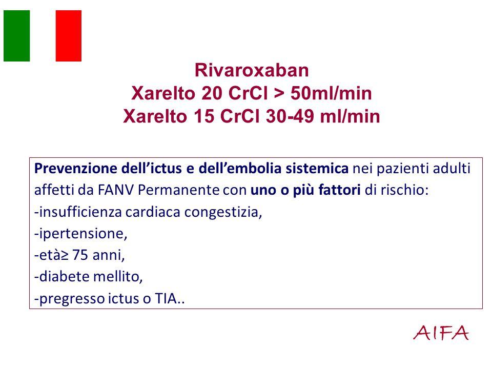 Rivaroxaban Xarelto 20 CrCl > 50ml/min Xarelto 15 CrCl 30-49 ml/min