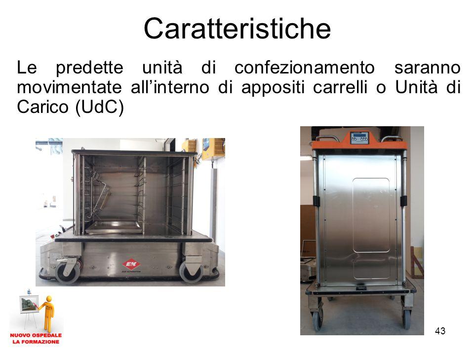 Caratteristiche Le predette unità di confezionamento saranno movimentate all'interno di appositi carrelli o Unità di Carico (UdC)