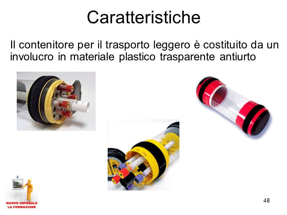 Caratteristiche Il contenitore per il trasporto leggero è costituito da un involucro in materiale plastico trasparente antiurto.