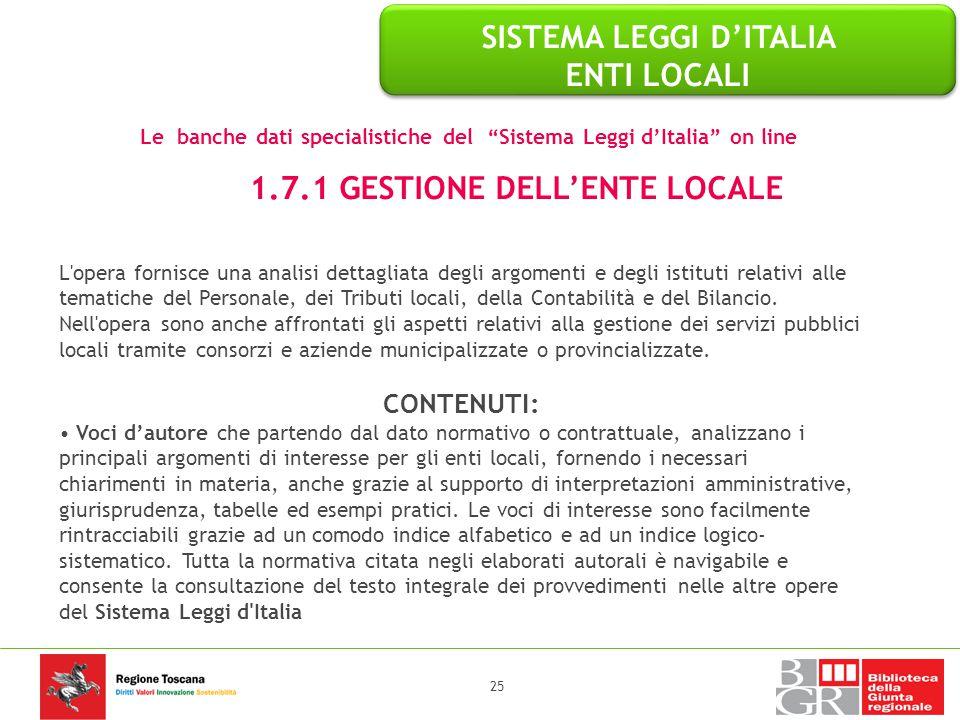 SISTEMA LEGGI D'ITALIA ENTI LOCALI 1.7.1 GESTIONE DELL'ENTE LOCALE