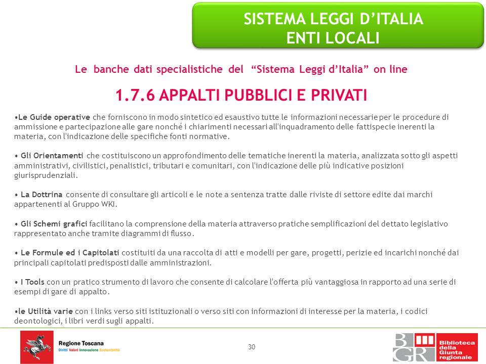 SISTEMA LEGGI D'ITALIA ENTI LOCALI 1.7.6 APPALTI PUBBLICI E PRIVATI