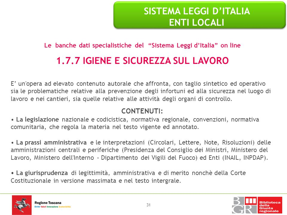 SISTEMA LEGGI D'ITALIA ENTI LOCALI 1.7.7 IGIENE E SICUREZZA SUL LAVORO