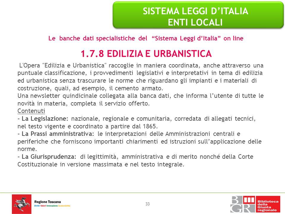 SISTEMA LEGGI D'ITALIA ENTI LOCALI 1.7.8 EDILIZIA E URBANISTICA