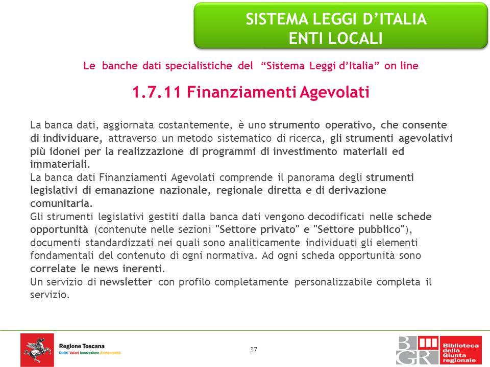 SISTEMA LEGGI D'ITALIA ENTI LOCALI 1.7.11 Finanziamenti Agevolati