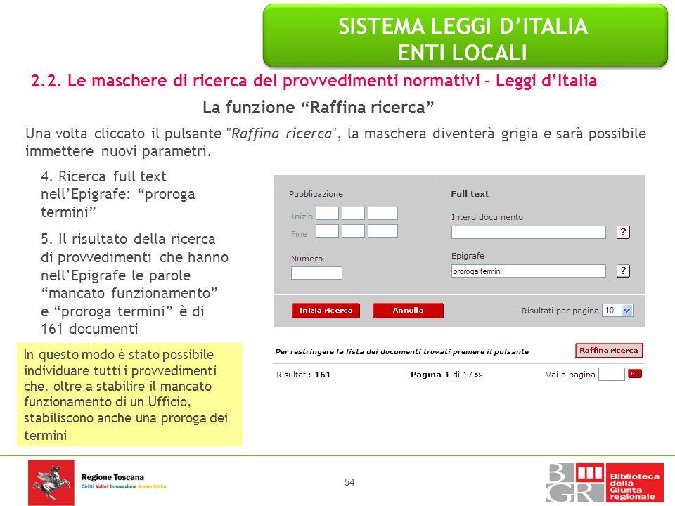 SISTEMA LEGGI D'ITALIA ENTI LOCALI La funzione Raffina ricerca