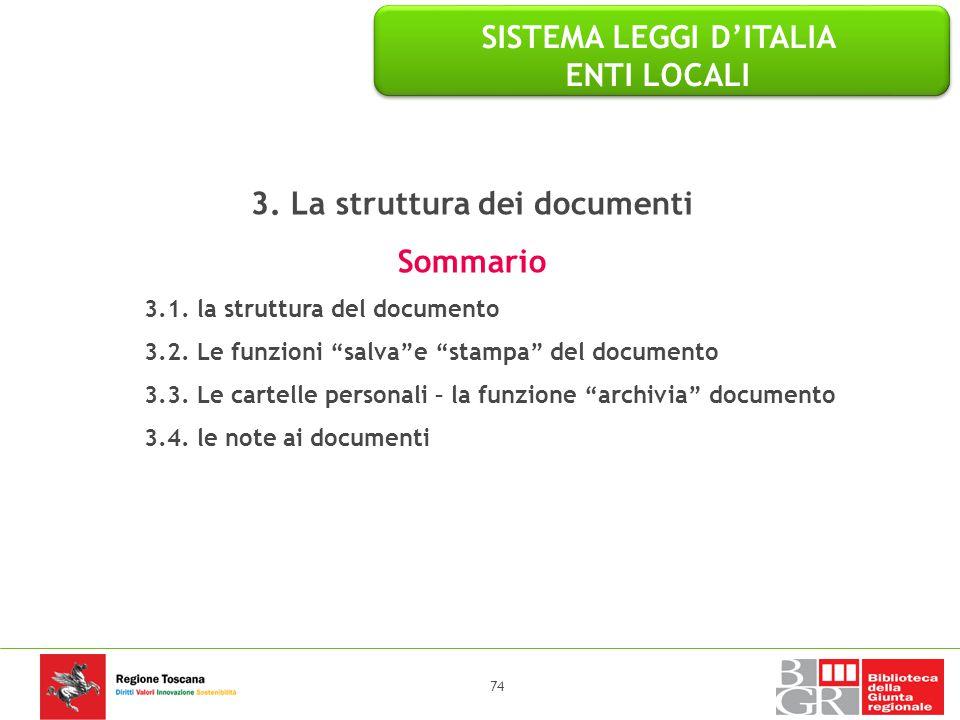 SISTEMA LEGGI D'ITALIA ENTI LOCALI 3. La struttura dei documenti