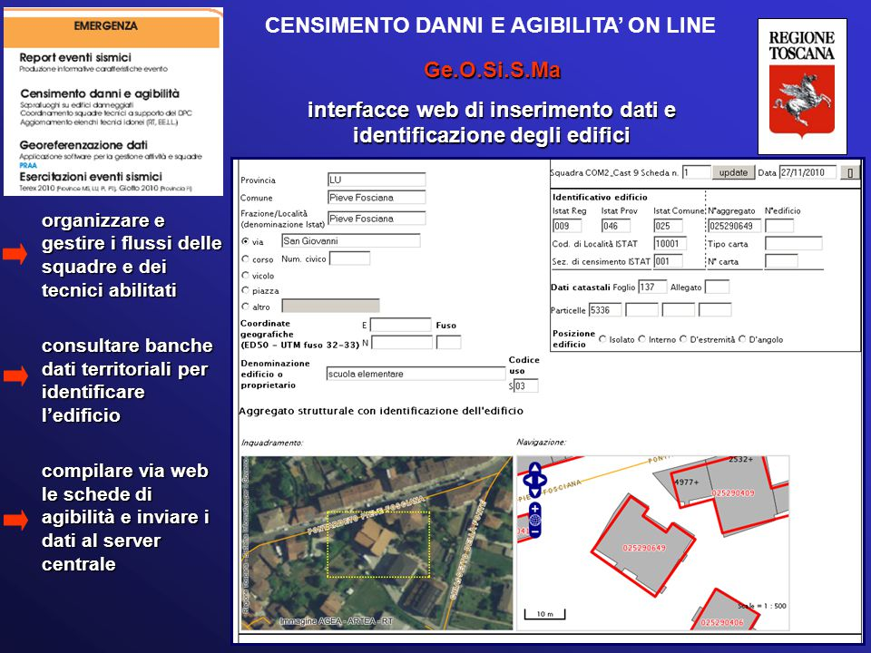 CENSIMENTO DANNI E AGIBILITA' ON LINE