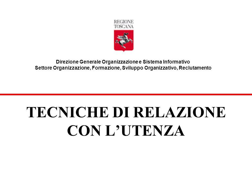 TECNICHE DI RELAZIONE CON L'UTENZA