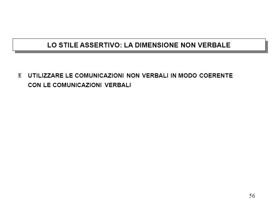LO STILE ASSERTIVO: LA DIMENSIONE NON VERBALE