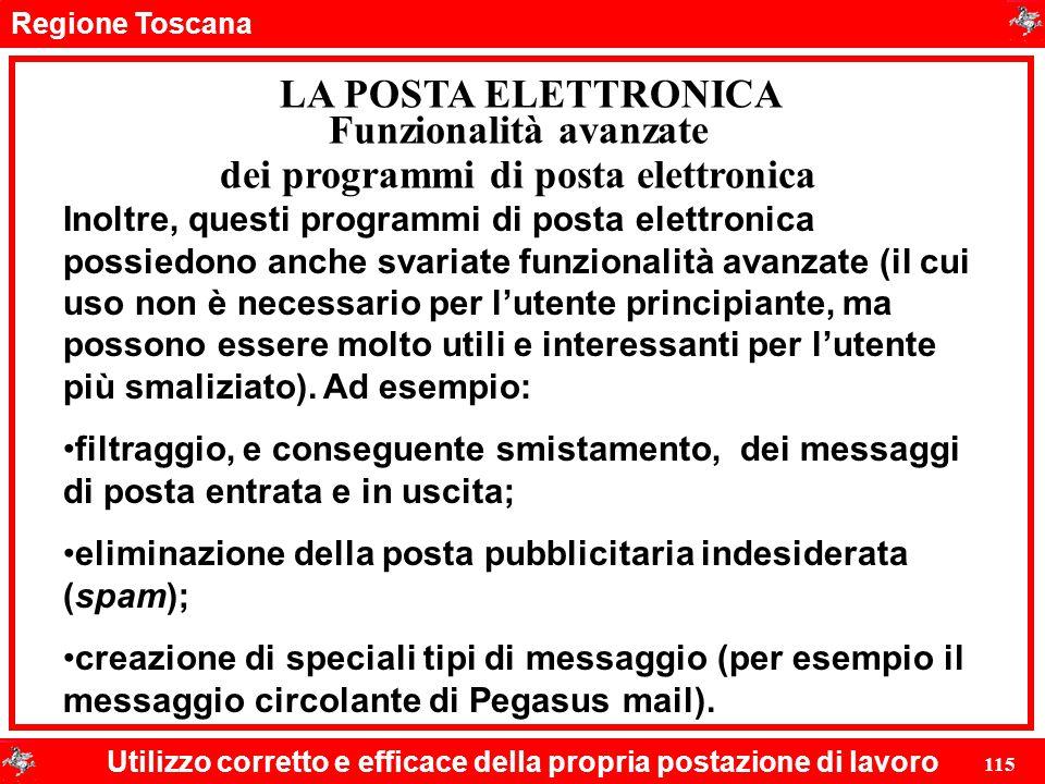 Funzionalità avanzate dei programmi di posta elettronica