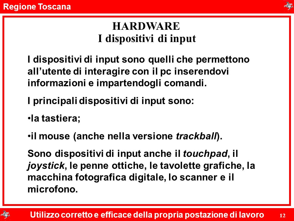 HARDWARE I dispositivi di input