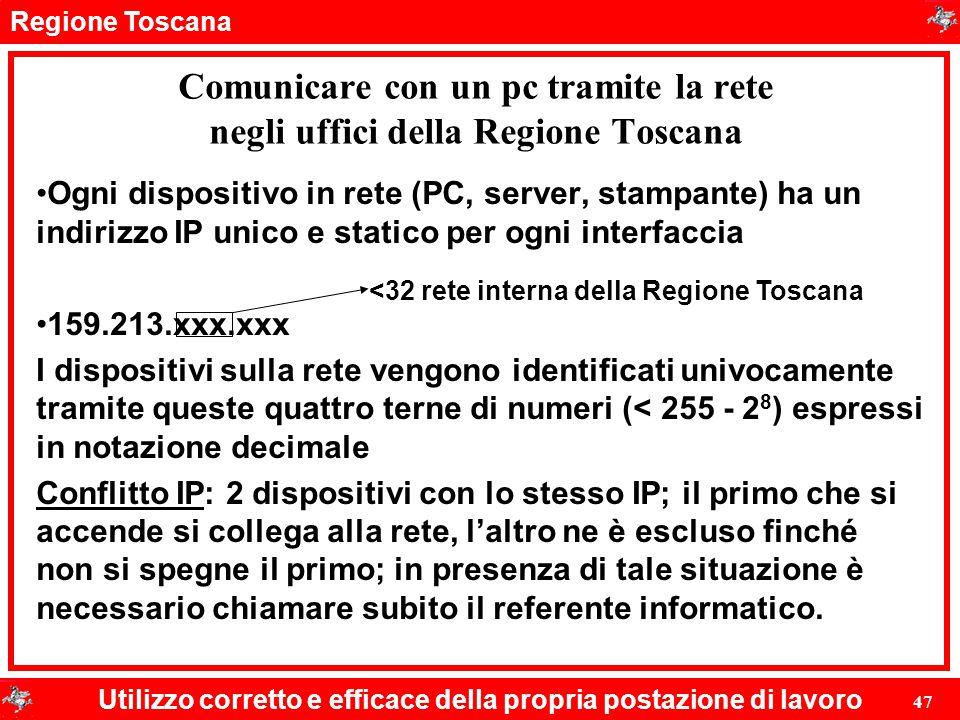 Comunicare con un pc tramite la rete negli uffici della Regione Toscana