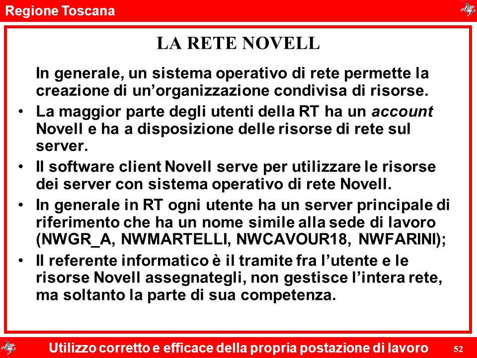 LA RETE NOVELL In generale, un sistema operativo di rete permette la creazione di un'organizzazione condivisa di risorse.