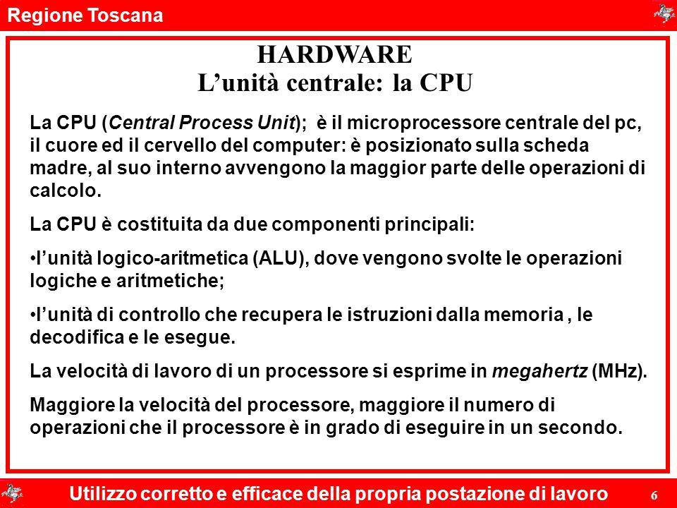 L'unità centrale: la CPU