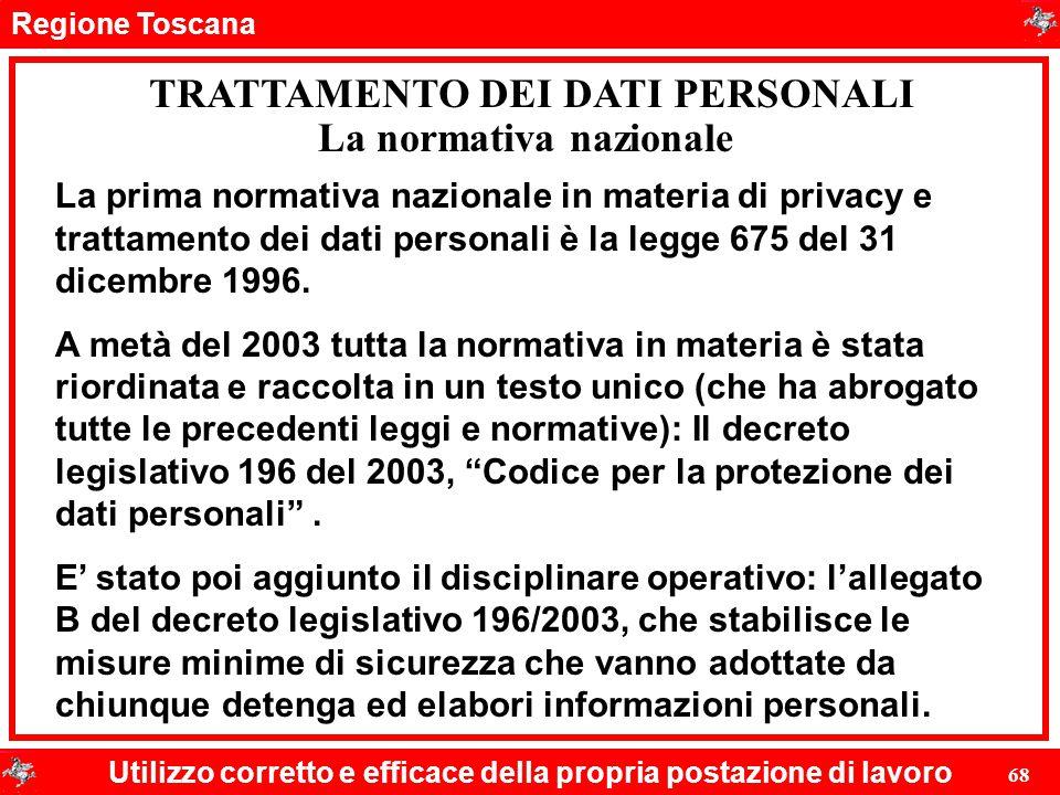 TRATTAMENTO DEI DATI PERSONALI La normativa nazionale