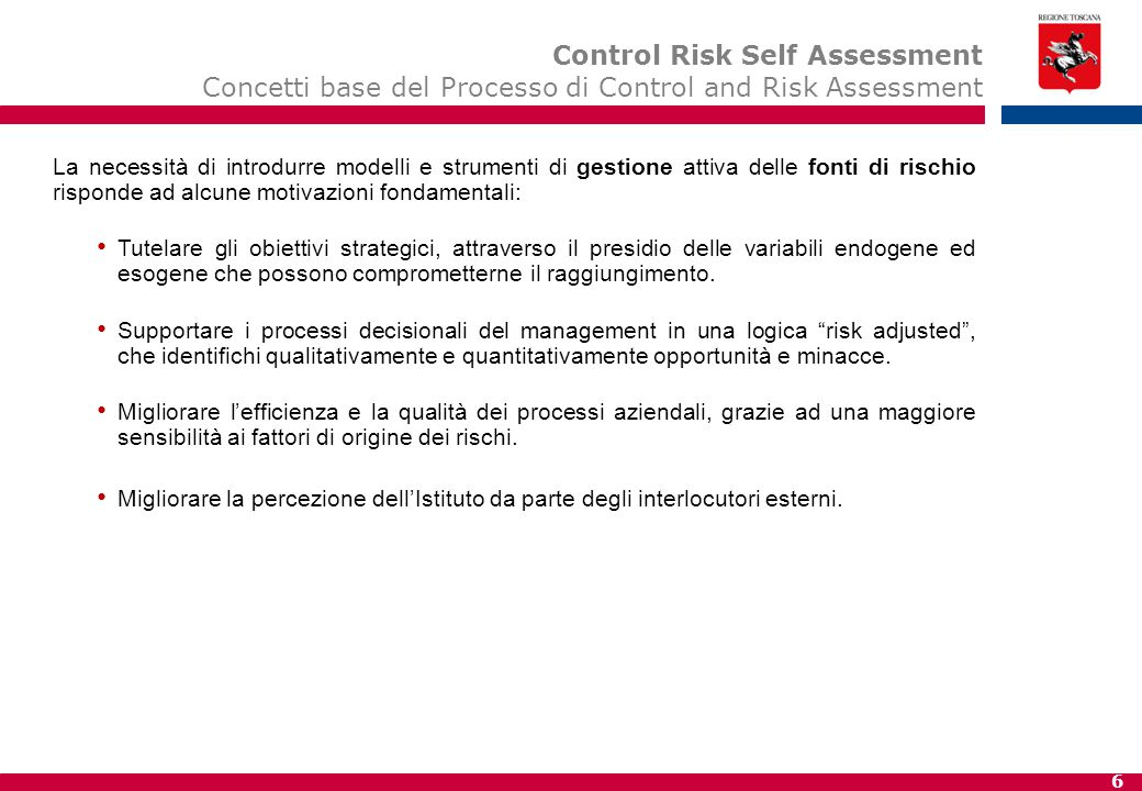 Motivazioni alla base del Processo di Control and Risk Self Assessment