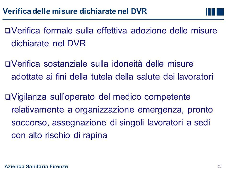 Verifica delle misure dichiarate nel DVR
