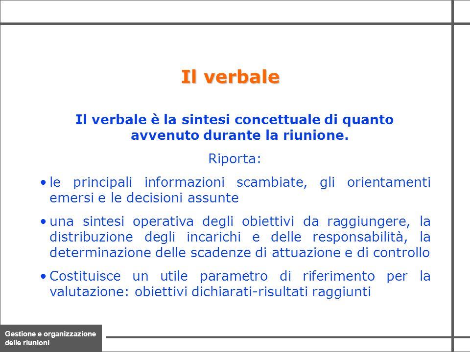 Il verbale Il verbale è la sintesi concettuale di quanto avvenuto durante la riunione. Riporta: