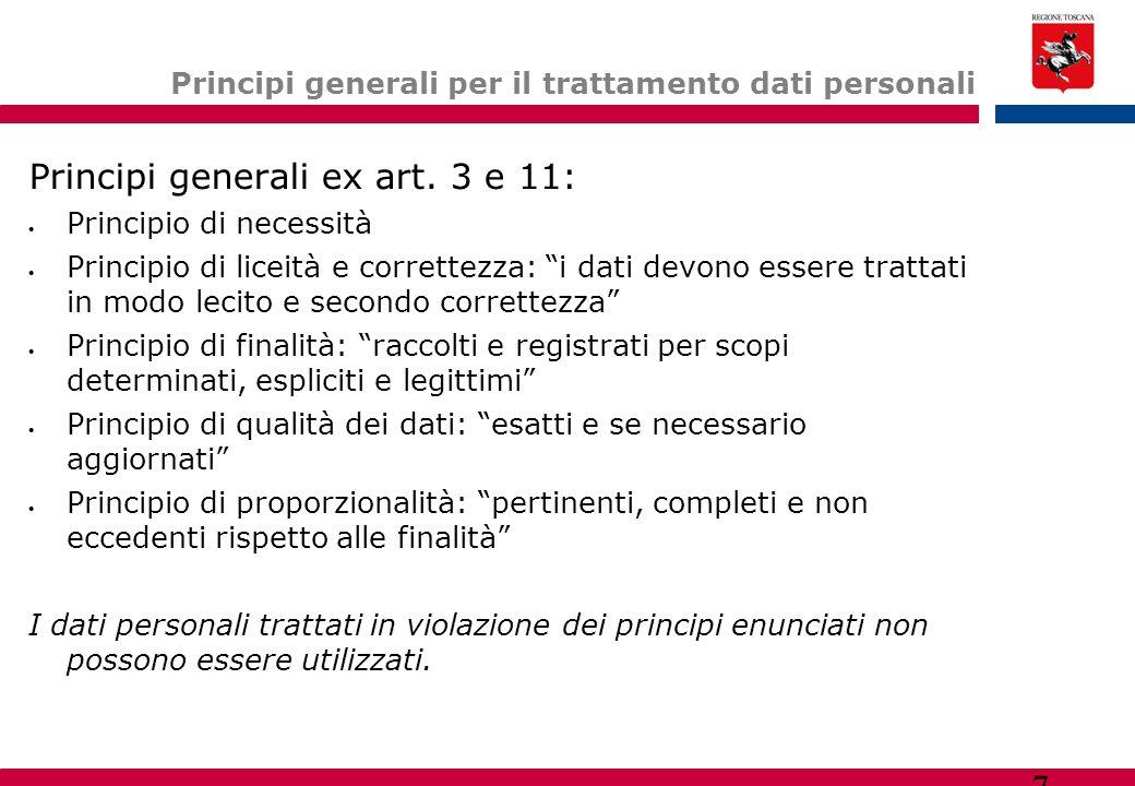 Principi generali per il trattamento dati personali