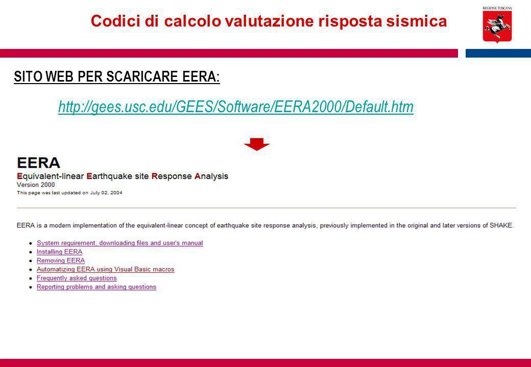 Codici di calcolo valutazione risposta sismica