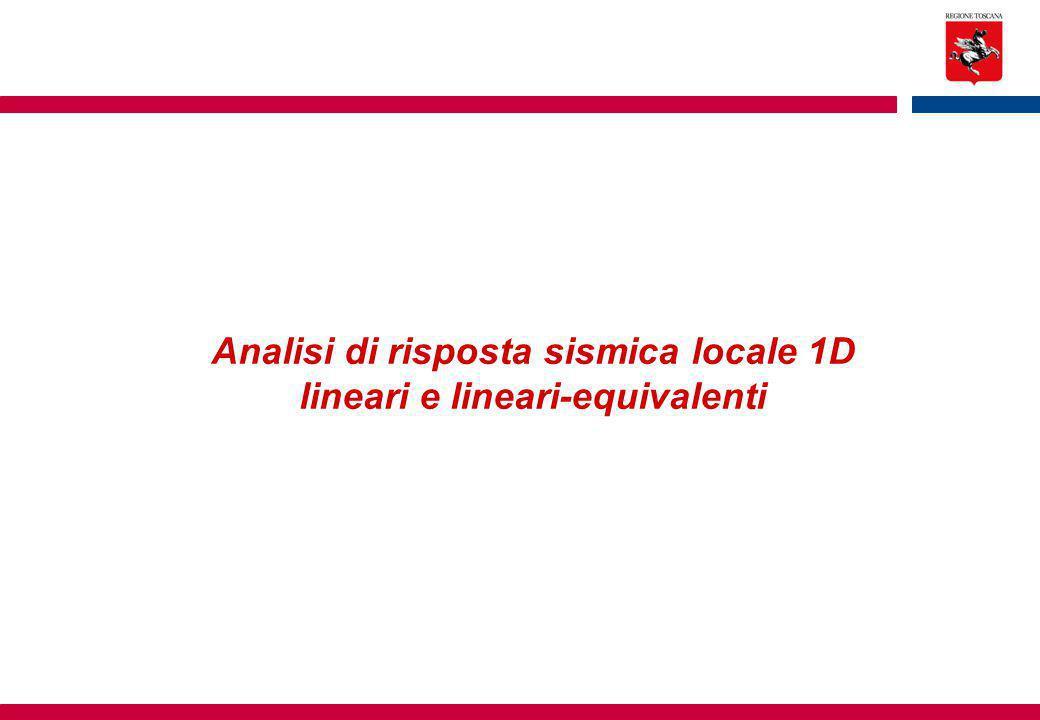 Analisi di risposta sismica locale 1D lineari e lineari-equivalenti