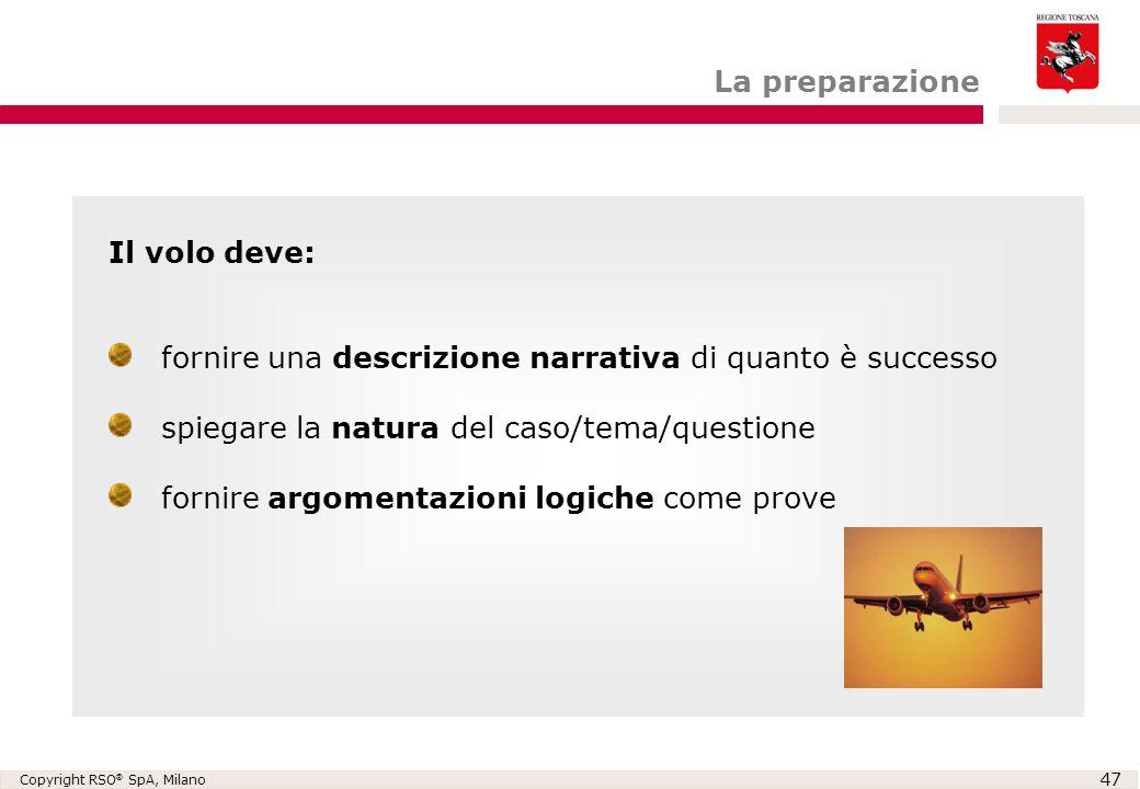 La preparazione Il volo deve: fornire una descrizione narrativa di quanto è successo. spiegare la natura del caso/tema/questione.