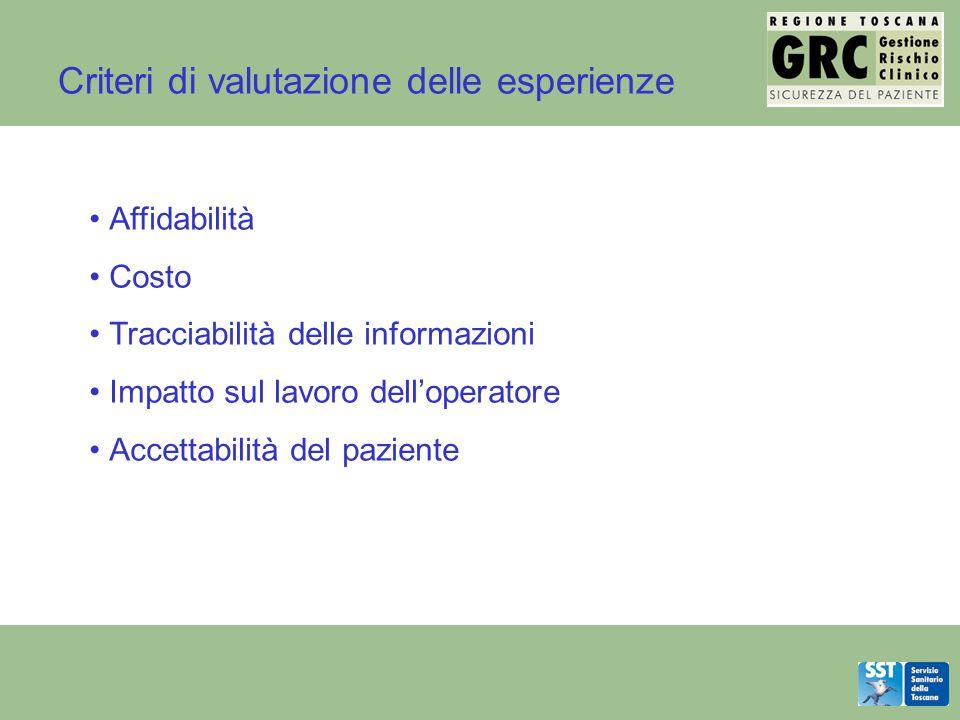 Criteri di valutazione delle esperienze