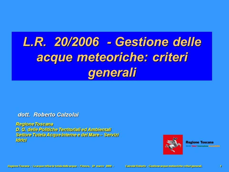 L.R. 20/2006 - Gestione delle acque meteoriche: criteri generali