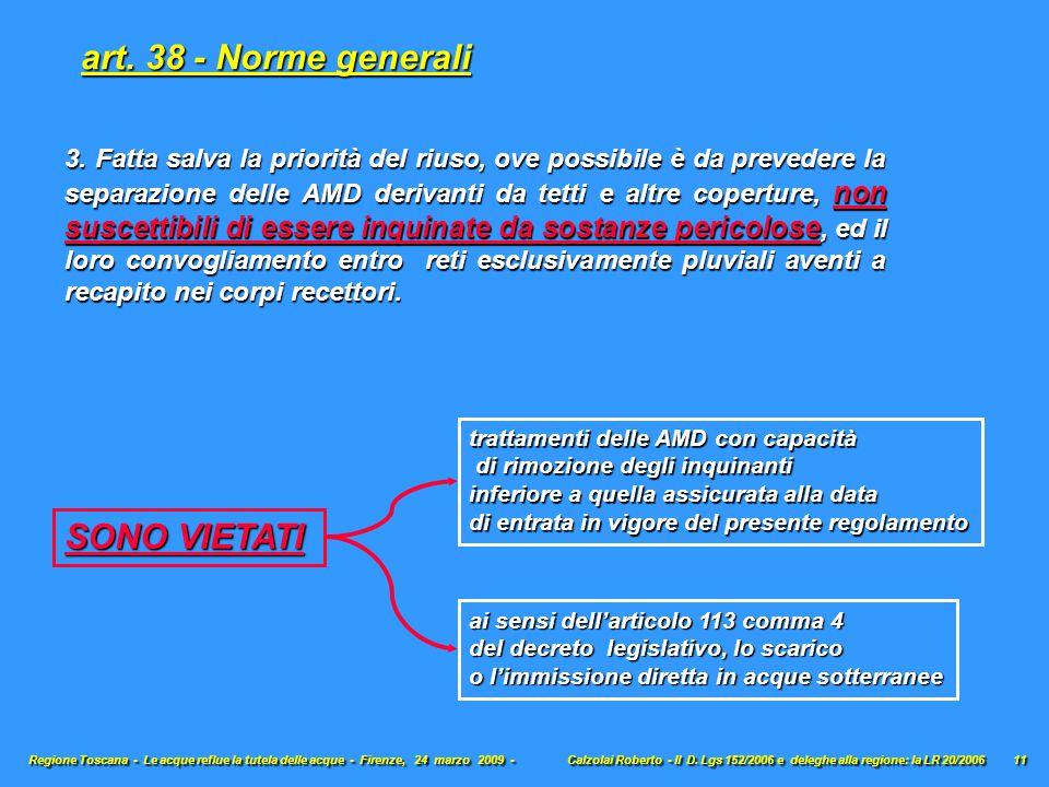 art. 38 - Norme generali SONO VIETATI
