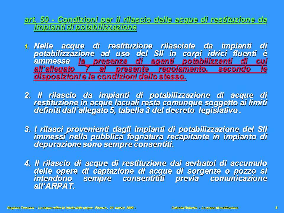 art. 50 - Condizioni per il rilascio delle acque di restituzione da impianti di potabilizzazione