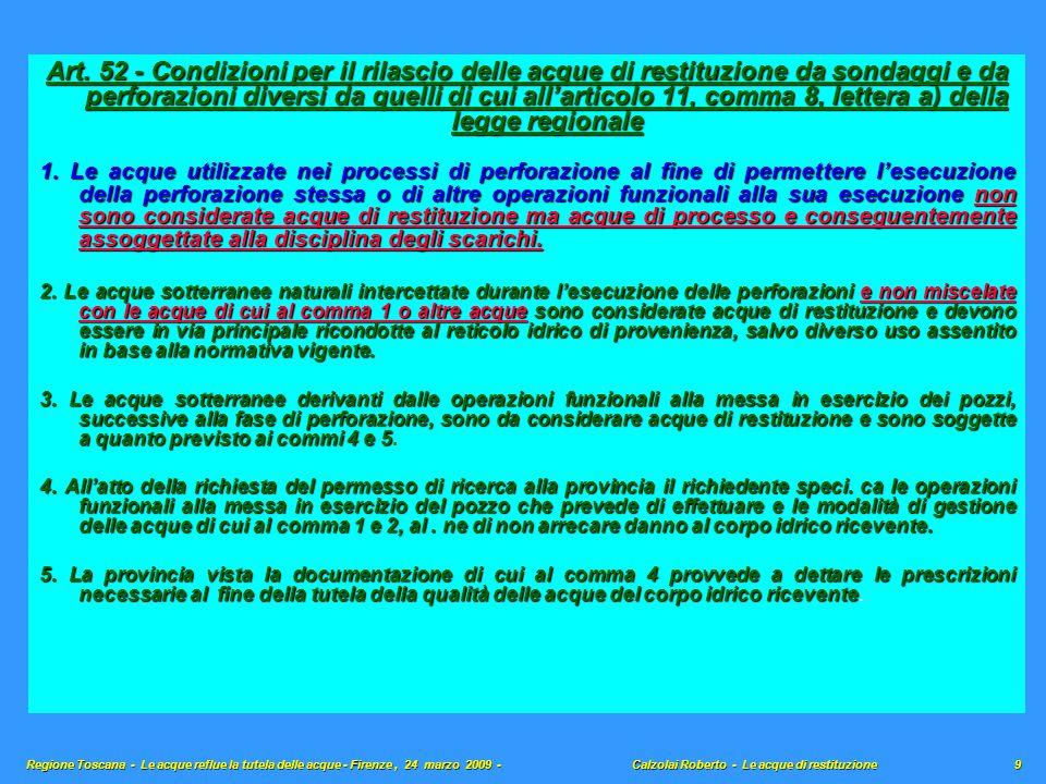 Art. 52 - Condizioni per il rilascio delle acque di restituzione da sondaggi e da perforazioni diversi da quelli di cui all'articolo 11, comma 8, lettera a) della legge regionale