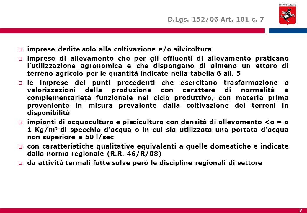 D.Lgs. 152/06 Art. 101 c. 7 imprese dedite solo alla coltivazione e/o silvicoltura.
