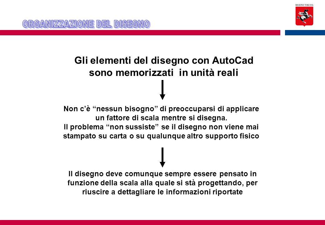 Gli elementi del disegno con AutoCad sono memorizzati in unità reali
