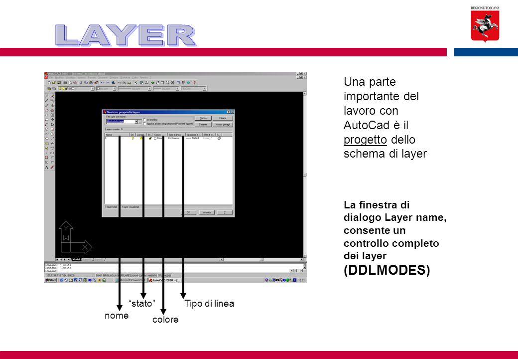 LAYER Una parte importante del lavoro con AutoCad è il progetto dello schema di layer.
