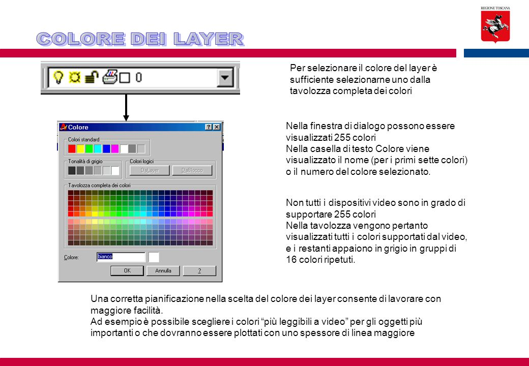 COLORE DEI LAYER Per selezionare il colore del layer è sufficiente selezionarne uno dalla tavolozza completa dei colori.