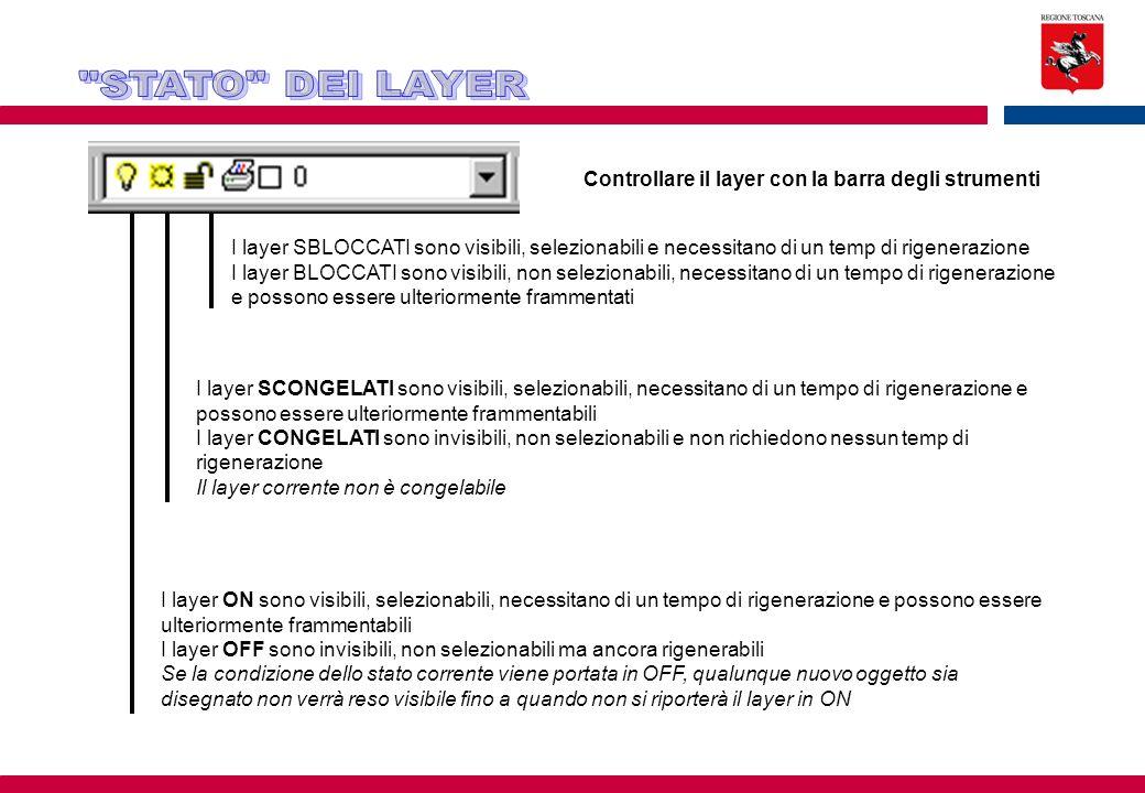 STATO DEI LAYER Controllare il layer con la barra degli strumenti