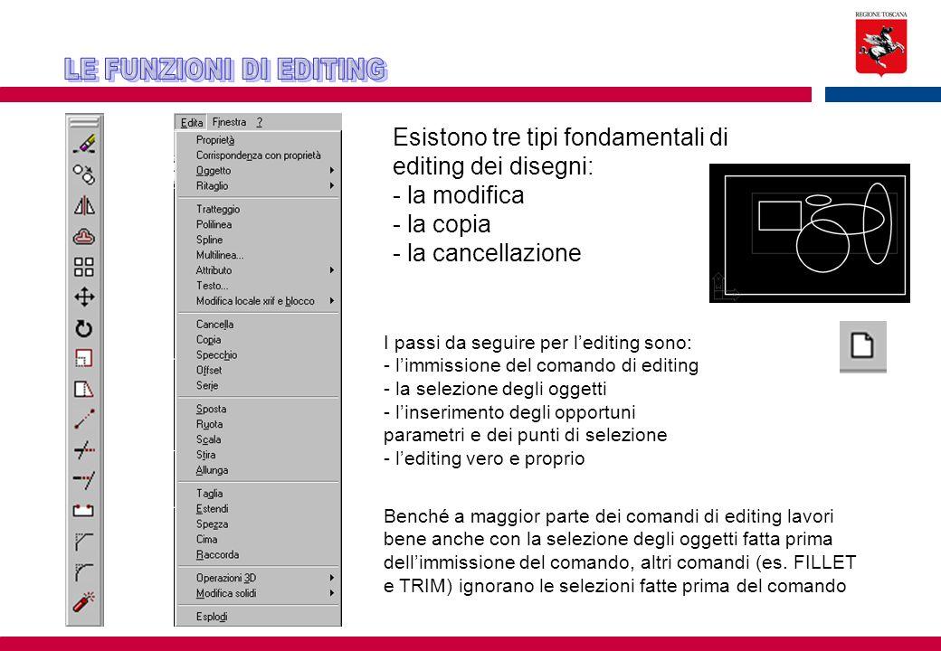 Esistono tre tipi fondamentali di editing dei disegni: - la modifica