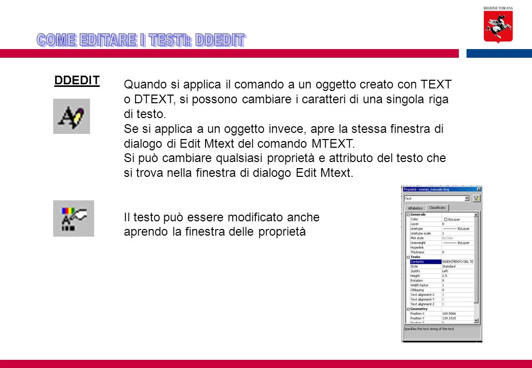 COME EDITARE I TESTI: DDEDIT