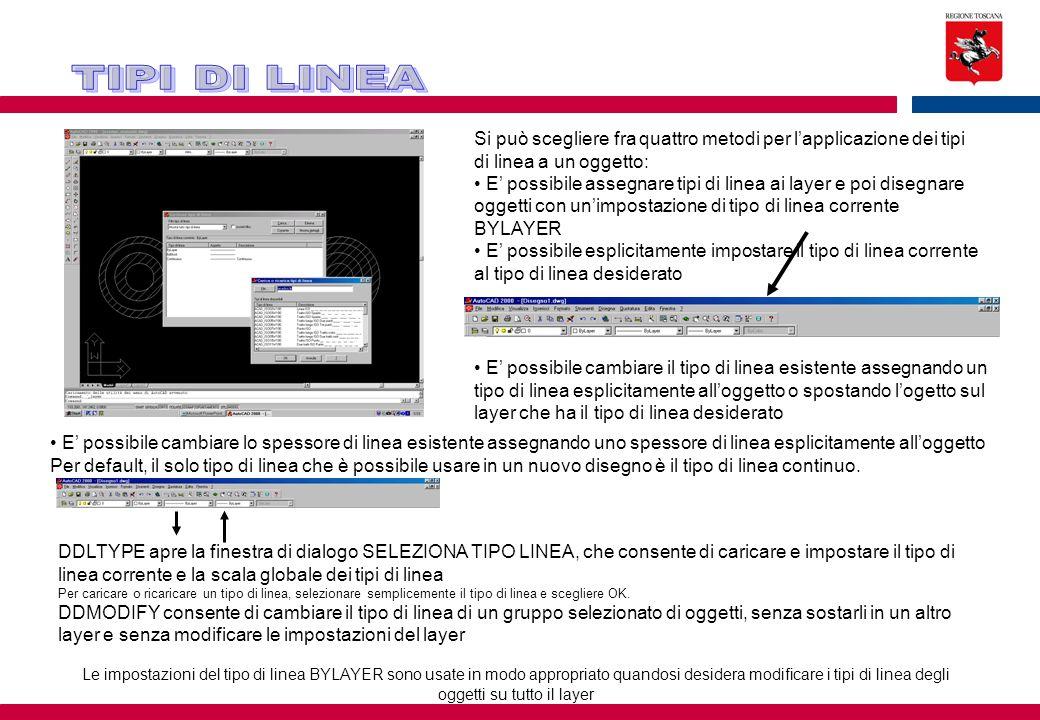 TIPI DI LINEA Si può scegliere fra quattro metodi per l'applicazione dei tipi di linea a un oggetto: