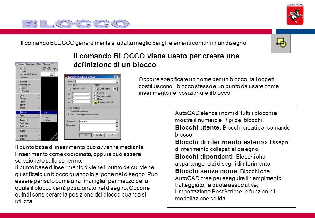 Il comando BLOCCO viene usato per creare una definizione di un blocco
