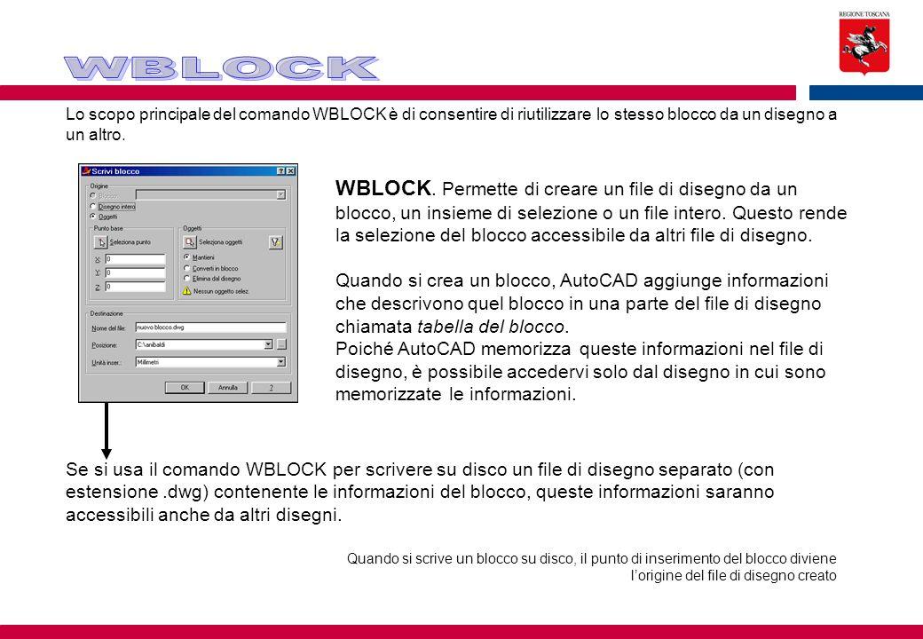 WBLOCK Lo scopo principale del comando WBLOCK è di consentire di riutilizzare lo stesso blocco da un disegno a un altro.