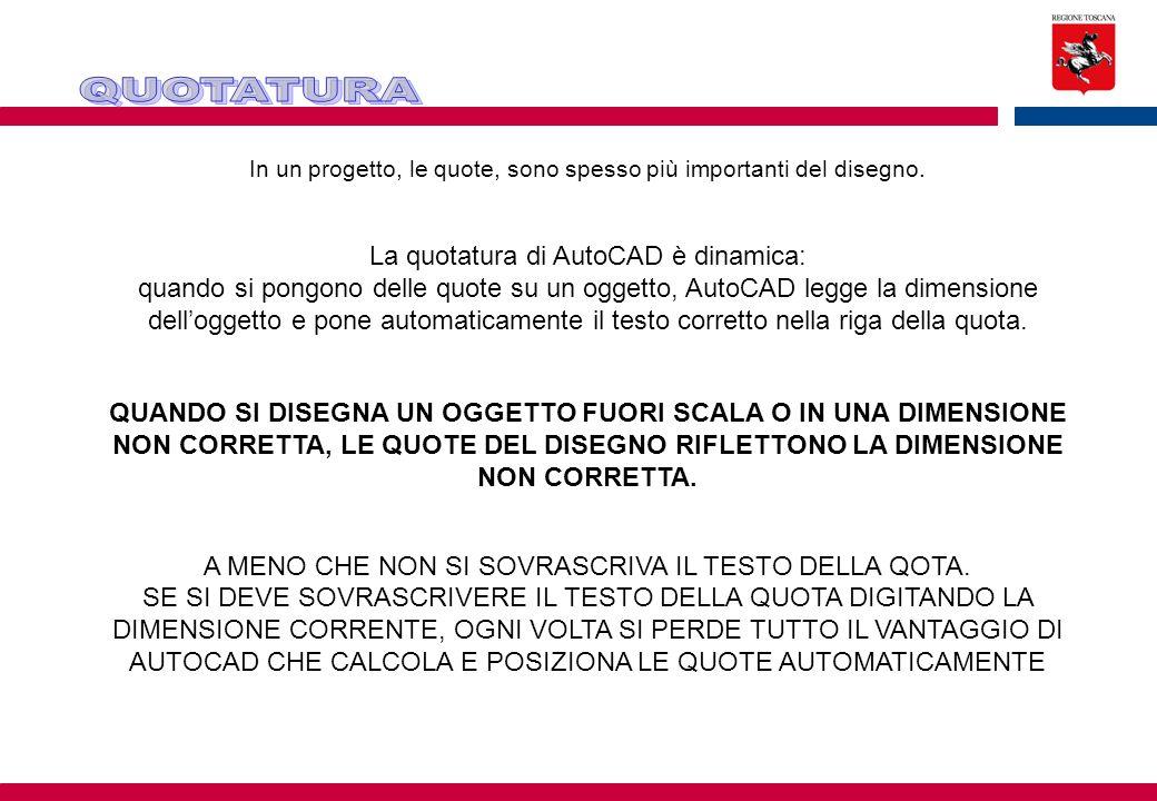 La quotatura di AutoCAD è dinamica: