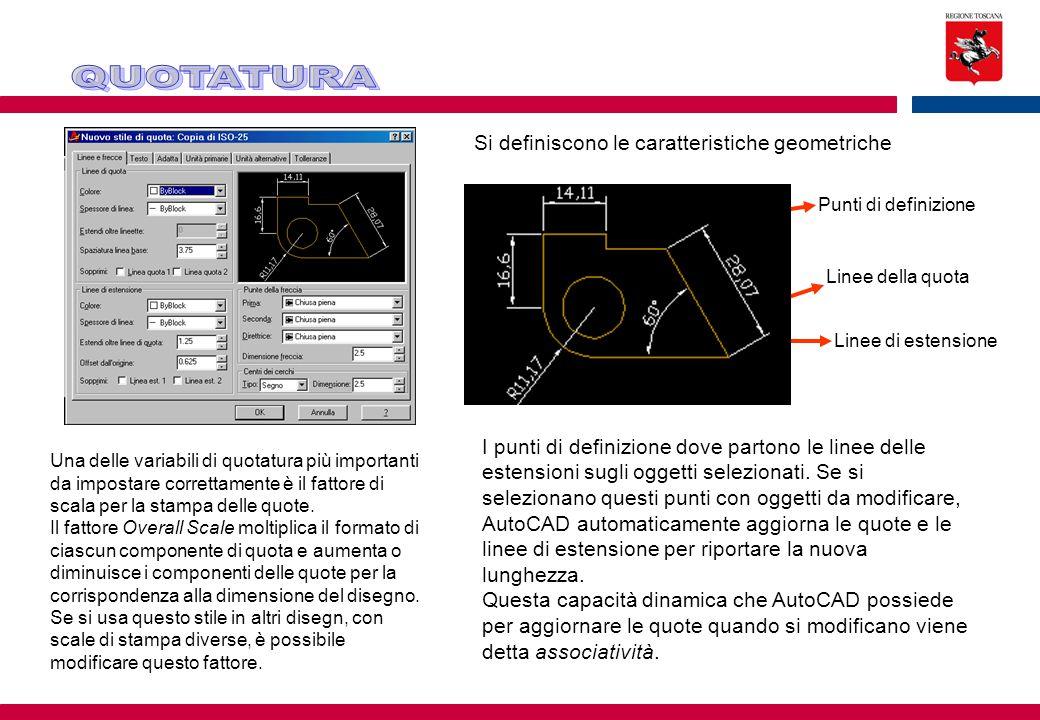 QUOTATURA Si definiscono le caratteristiche geometriche
