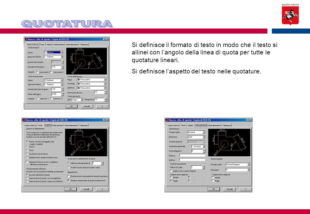 QUOTATURA Si definisce il formato di testo in modo che il testo si allinei con l'angolo della linea di quota per tutte le quotature lineari.