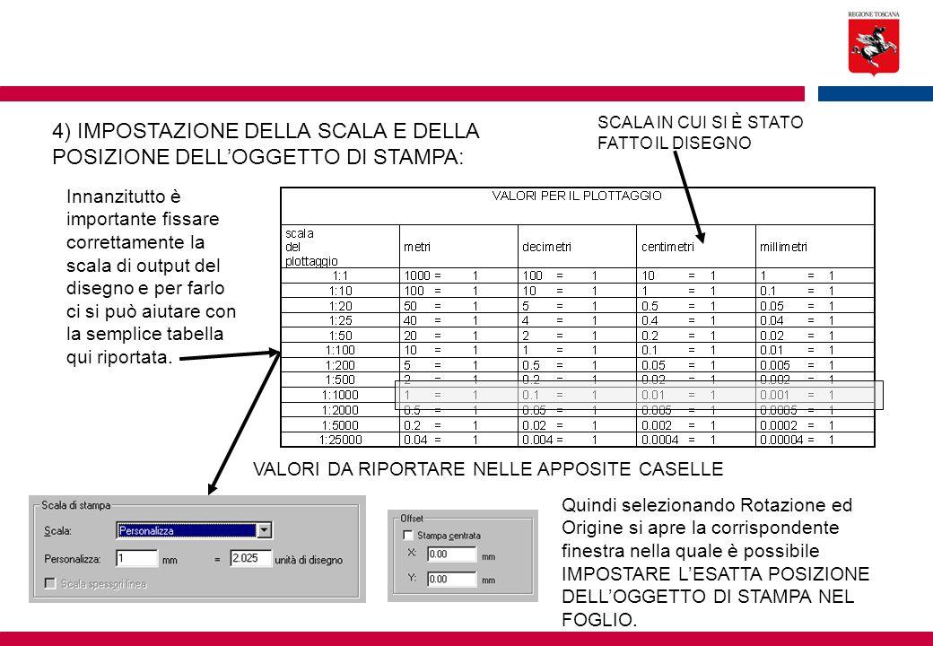 4) IMPOSTAZIONE DELLA SCALA E DELLA POSIZIONE DELL'OGGETTO DI STAMPA: