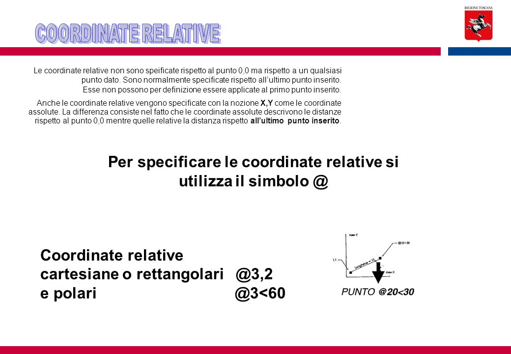 Per specificare le coordinate relative si utilizza il simbolo @