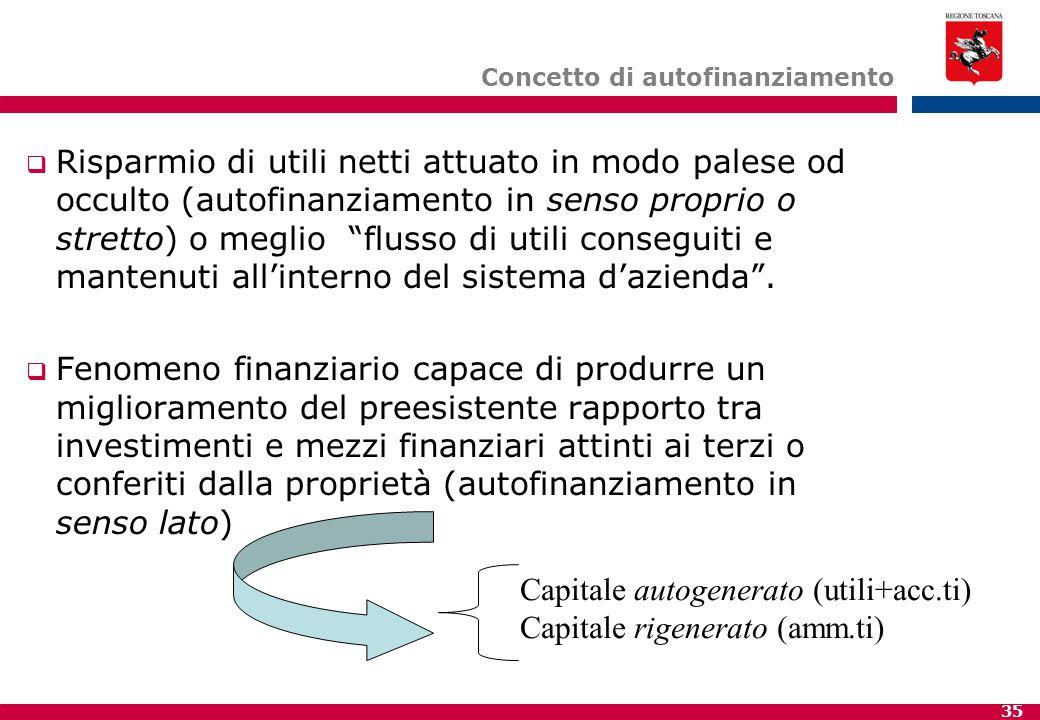 Concetto di autofinanziamento