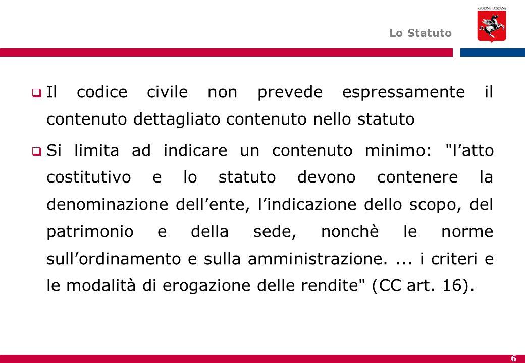 Lo Statuto Il codice civile non prevede espressamente il contenuto dettagliato contenuto nello statuto.