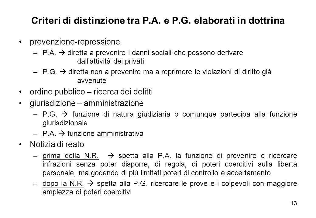 Criteri di distinzione tra P.A. e P.G. elaborati in dottrina