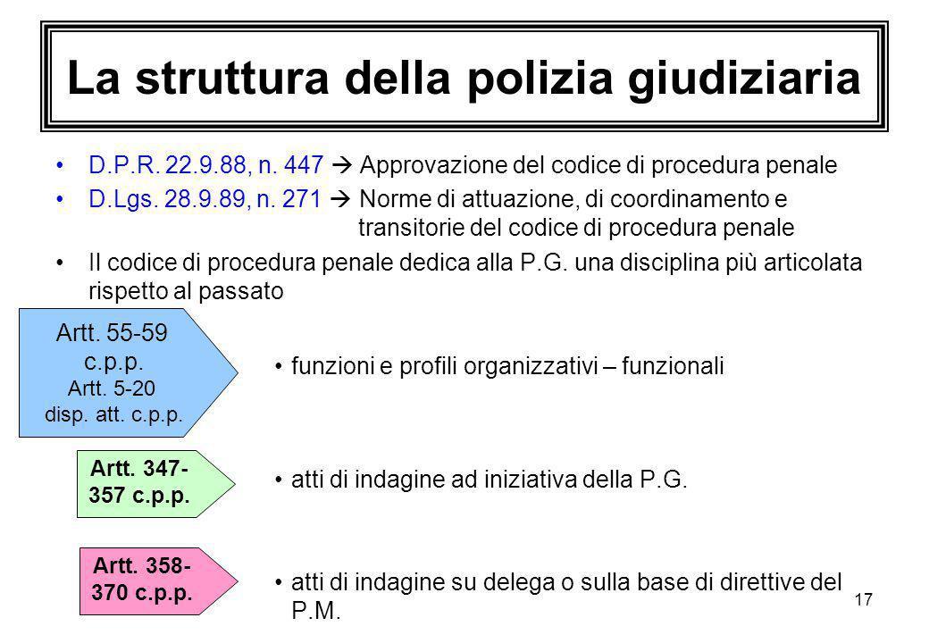 La struttura della polizia giudiziaria